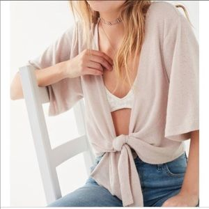 Out from Under Crop Tie Front Cardigan Sweater
